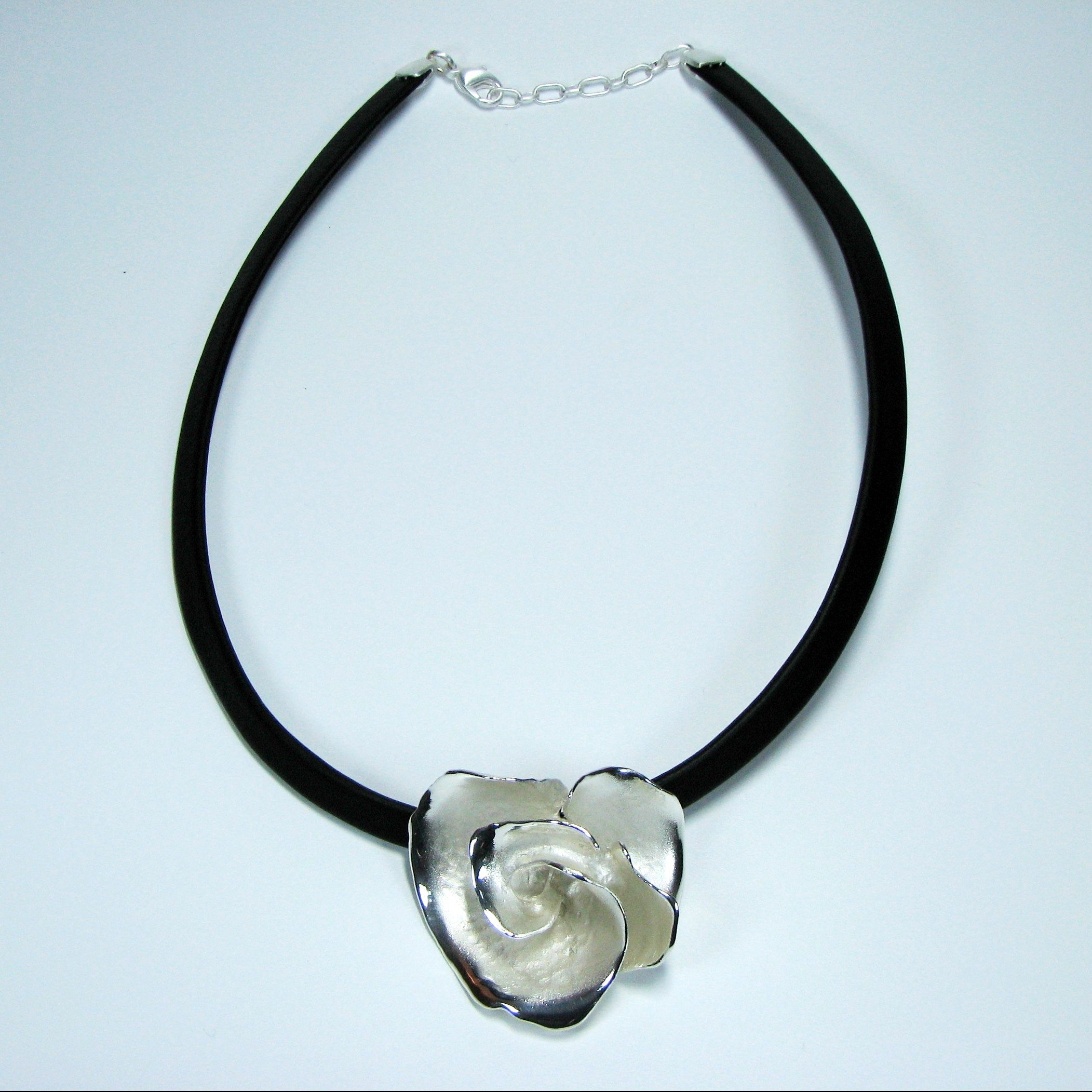 Charisma Large Silver Flower Pendant On Leather