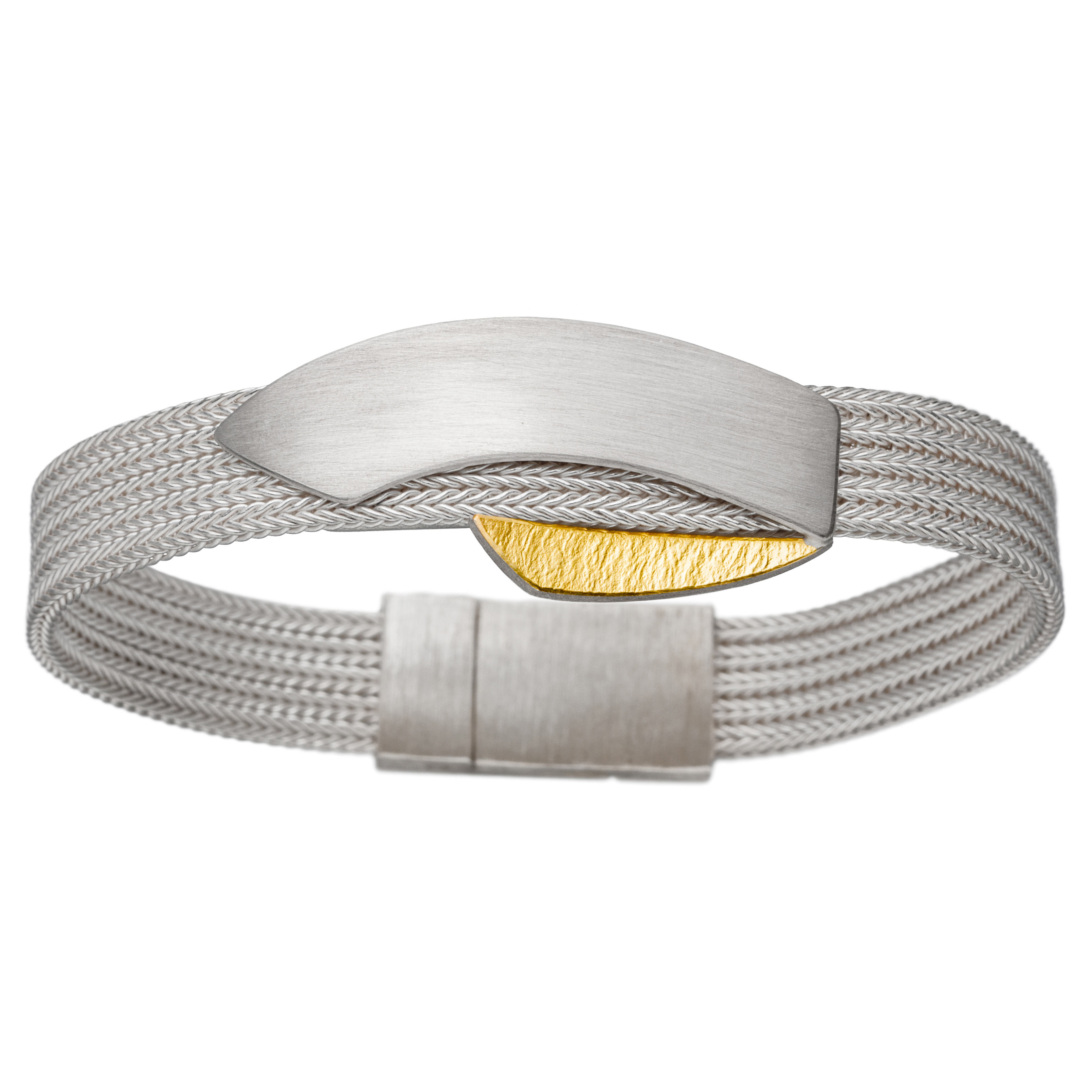 Manu Silver Curved Foxband Bracelet With Gold