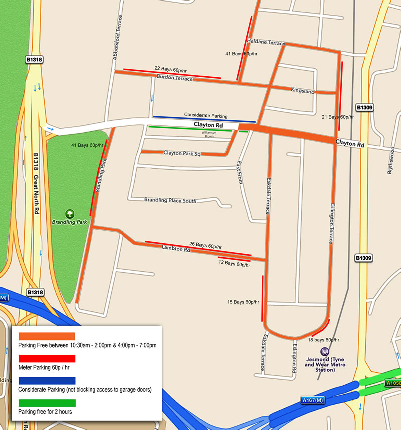 Williamson Brown Parking Map