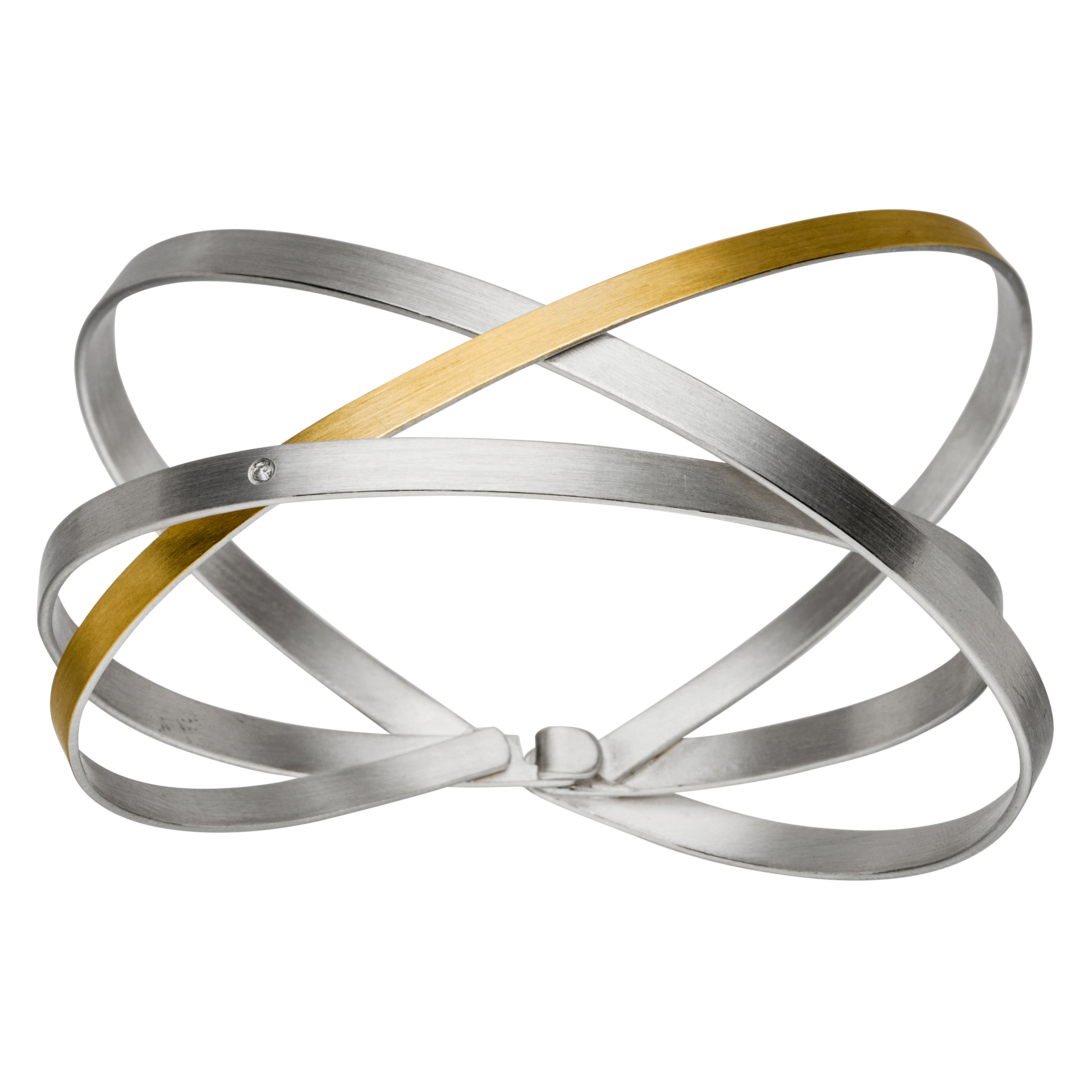 Manu Gold, Silver & Diamond Overlapping Bangle