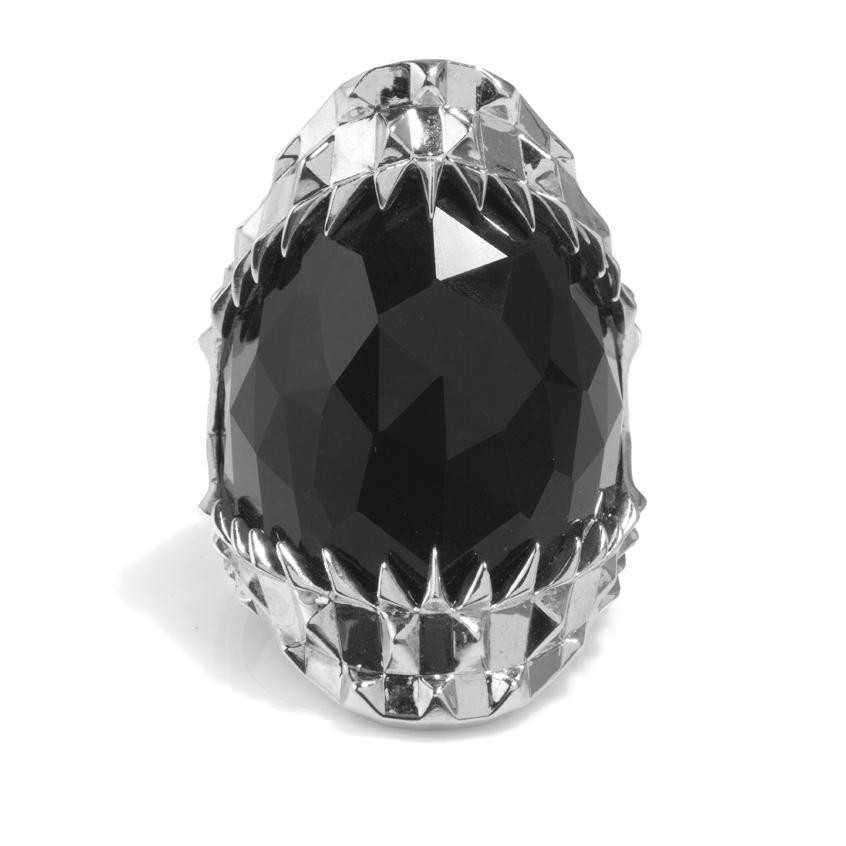 Kasun Vampire Silver Black Bite Ring