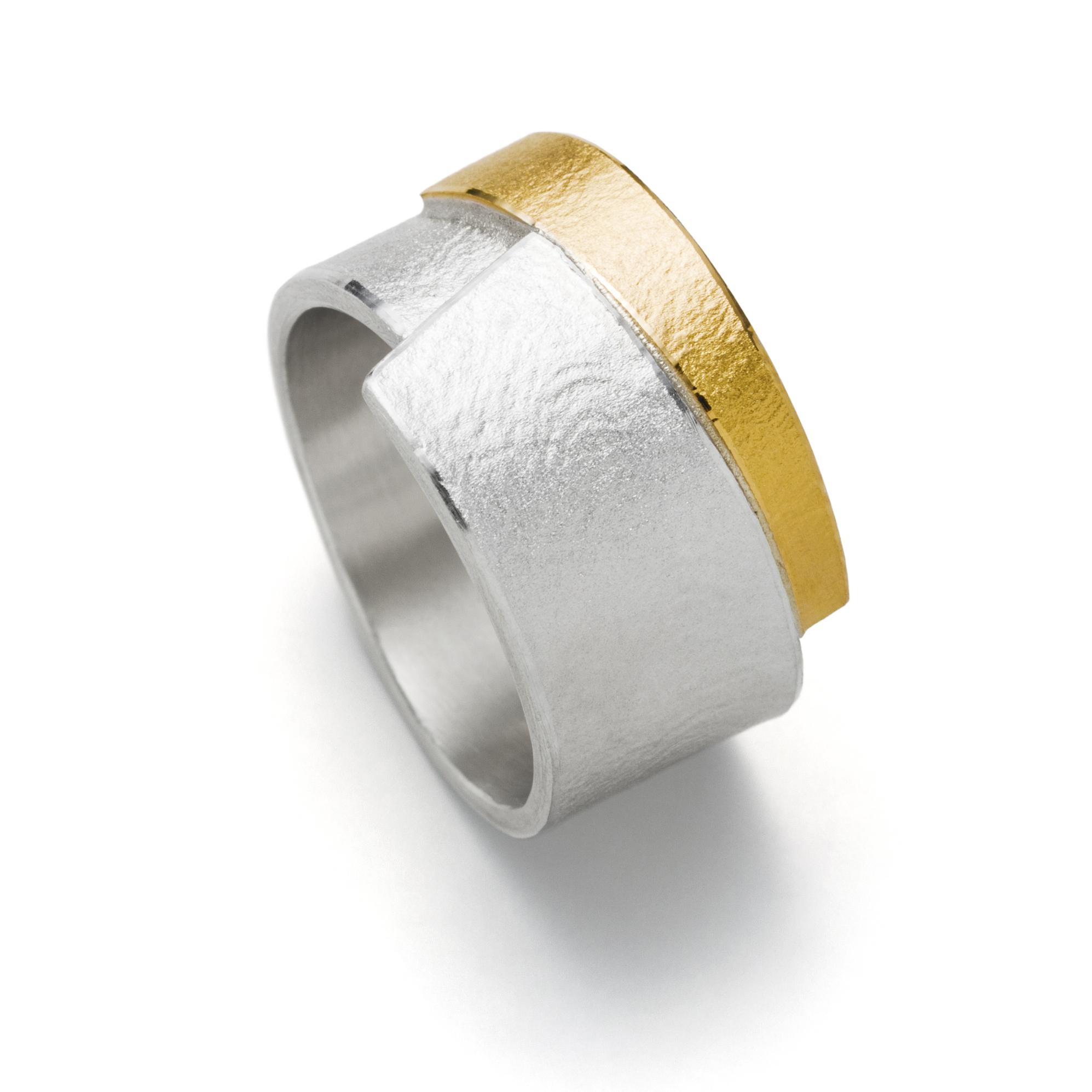 R1002 - Silberring Mit Gold (Ag925, Au900)