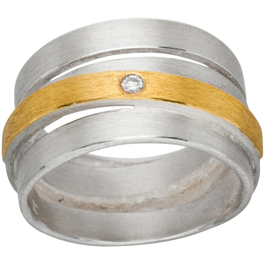 Manu Gold, Silver And Diamond Chunky Ring