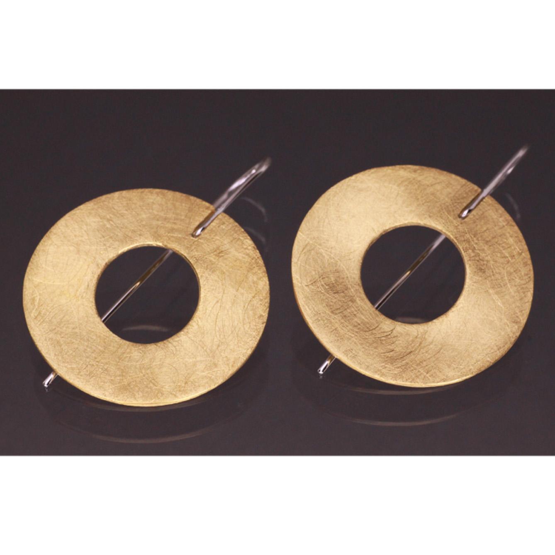 Lindenau Gold Plated Flattened Disk Earrings