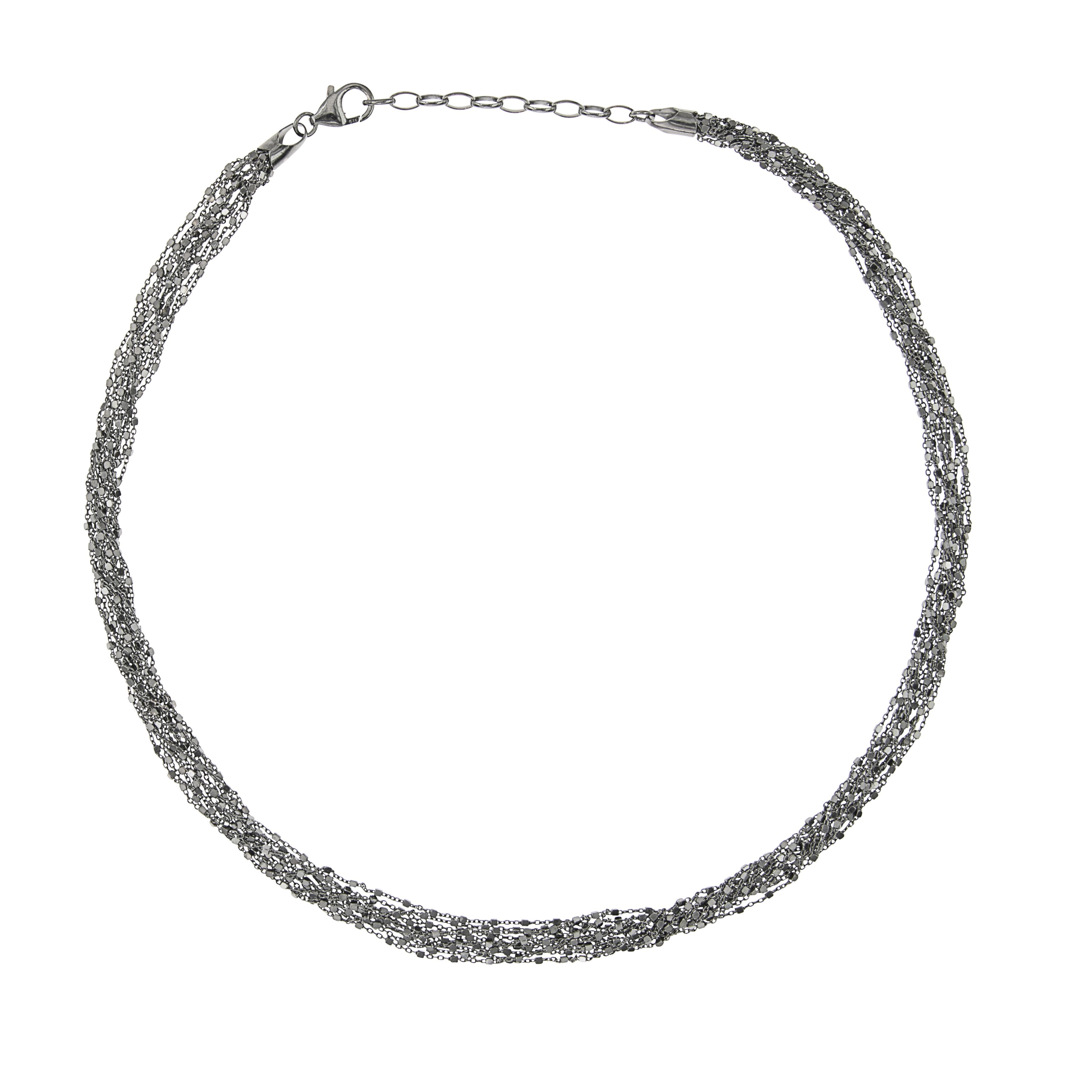 Tezer Black Rhodium Sparkle Necklace