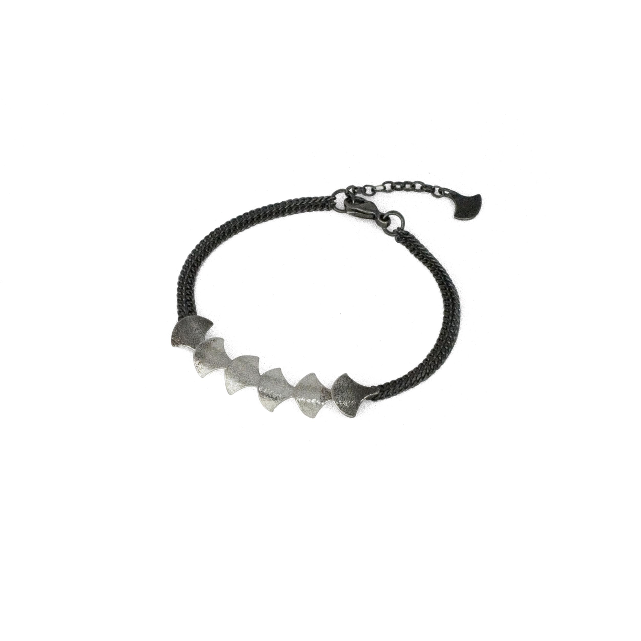 Cara Tonkin Black Silver Siren Scale Bracelet