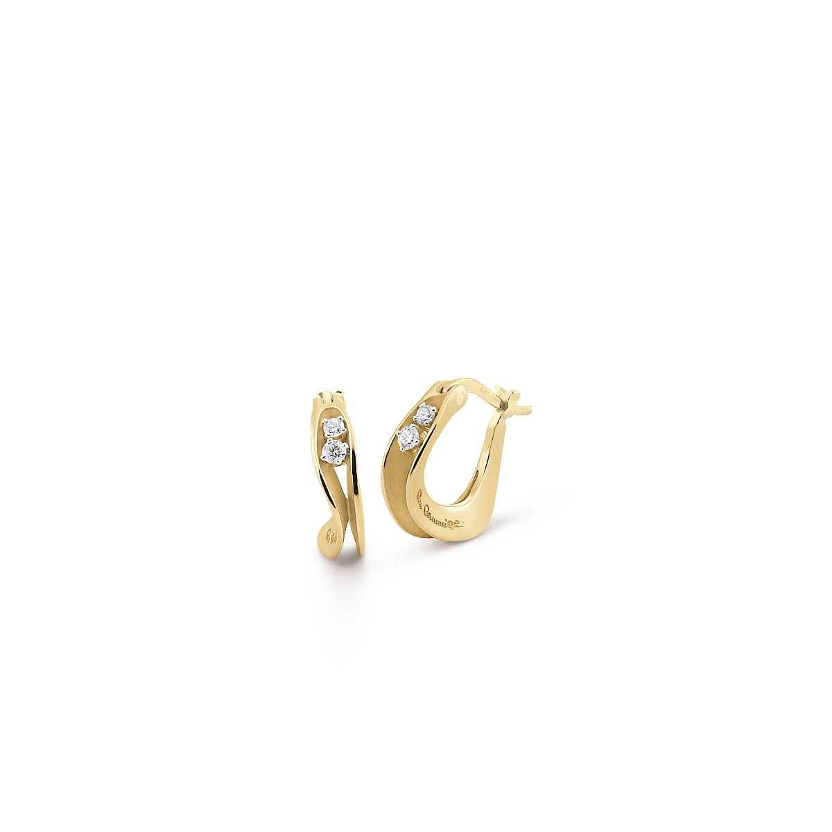 Anna Maria Cammilli 18ct Yellow Gold Diamond Dune Hoop Earrings