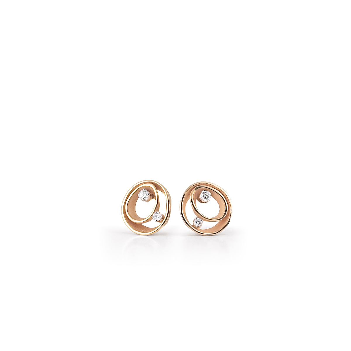 Anna Maria Cammilli 18ct Rose Gold And Diamond Dune Earrings.