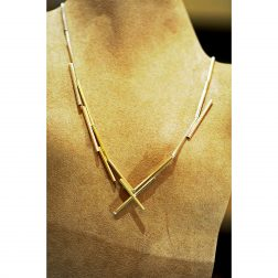 Williamson Brown Single Tube Necklace In 9ct Gold