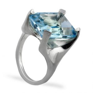 Williamson Brown 7ct Sky Blue Topaz Silver Cocktail Ring