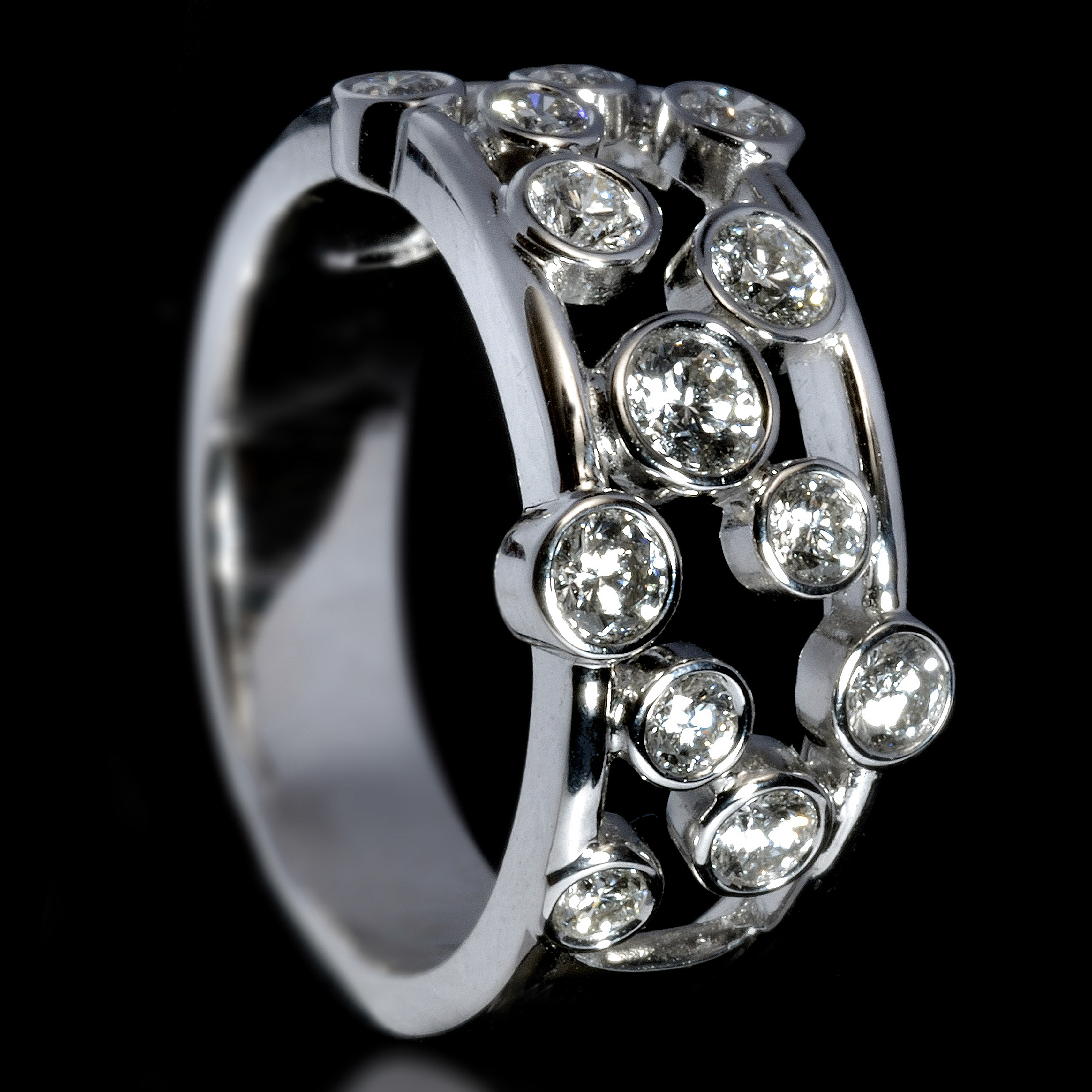 Williamson Brown White Gold 1ct Diamond Scatter Ring