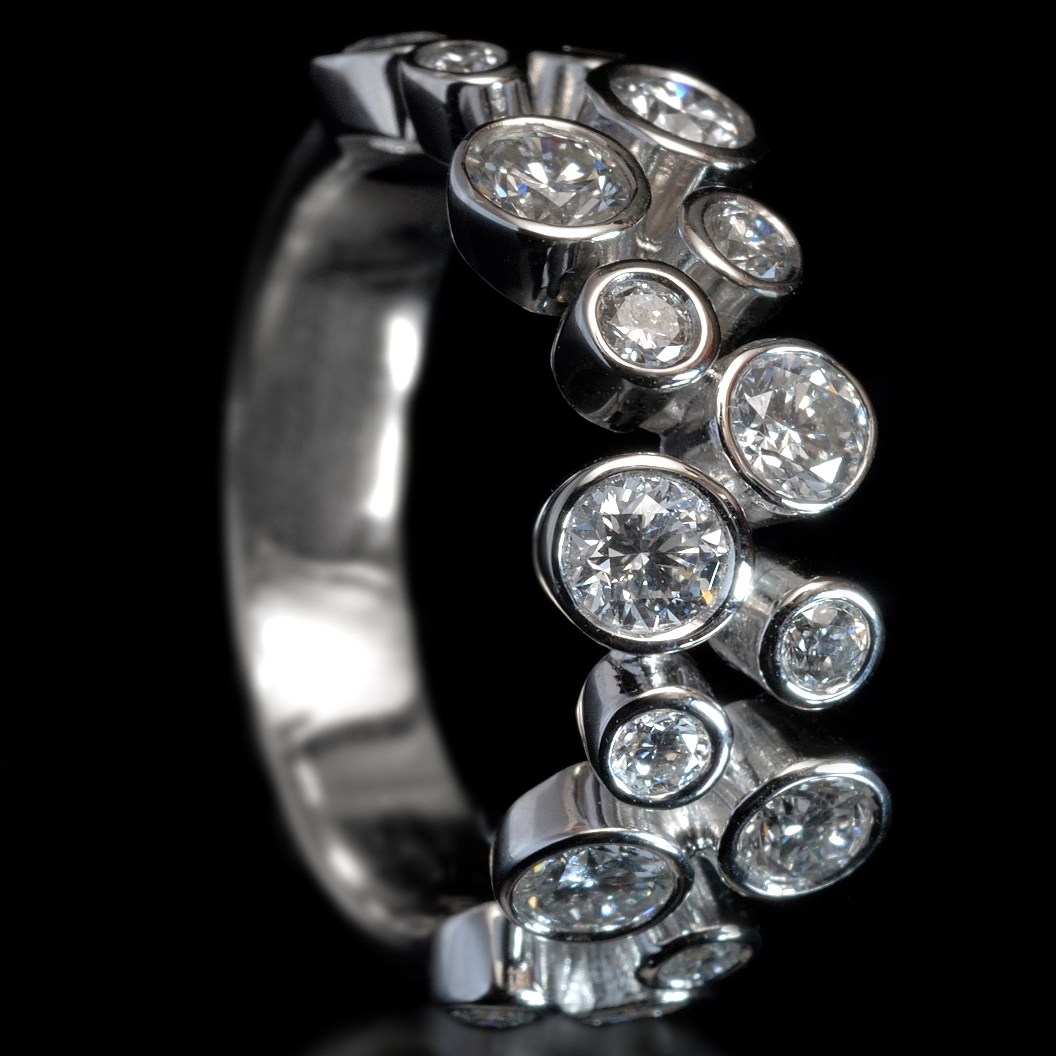 Williamson Brown White Gold And Diamond Scatter Ring