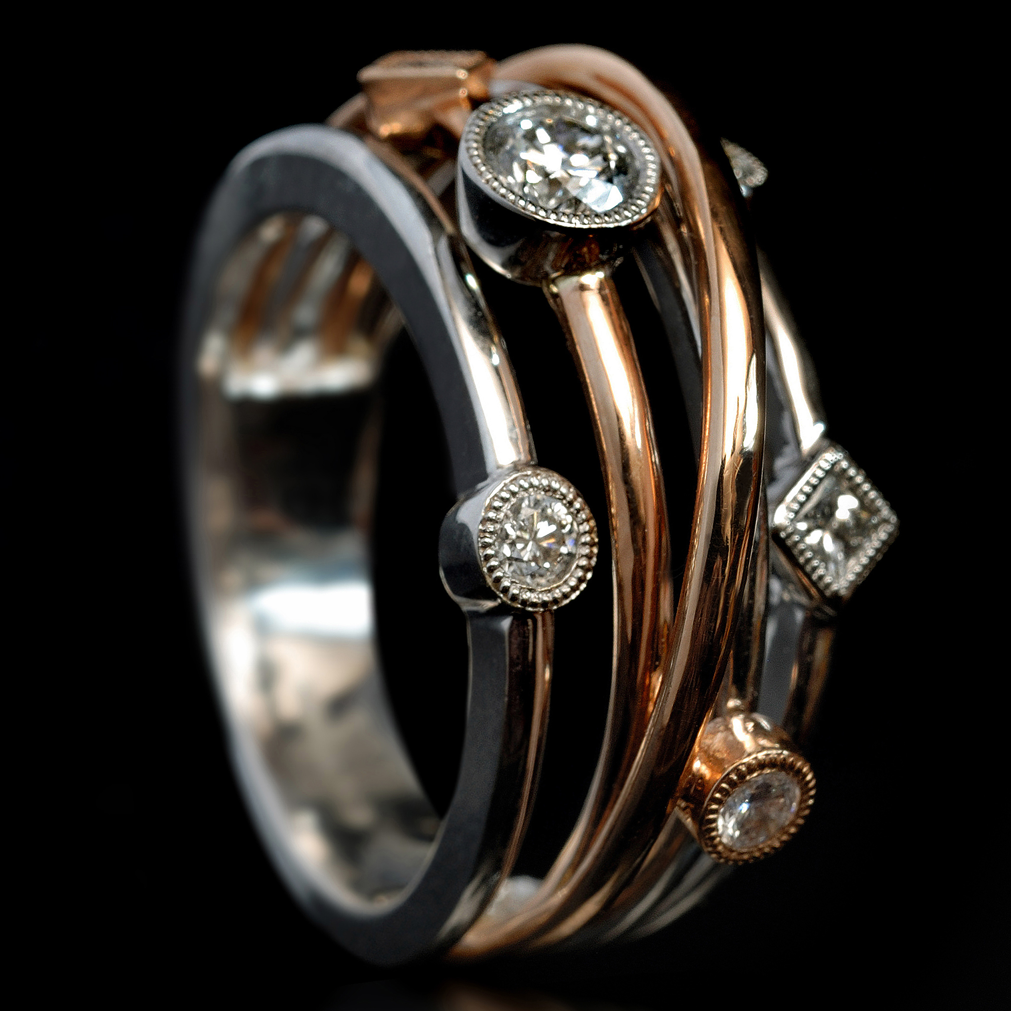 White And Rose Gold Lifestyle Ring