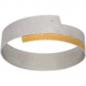 Manu 22ct Gold And Silver Bangle With Diamond