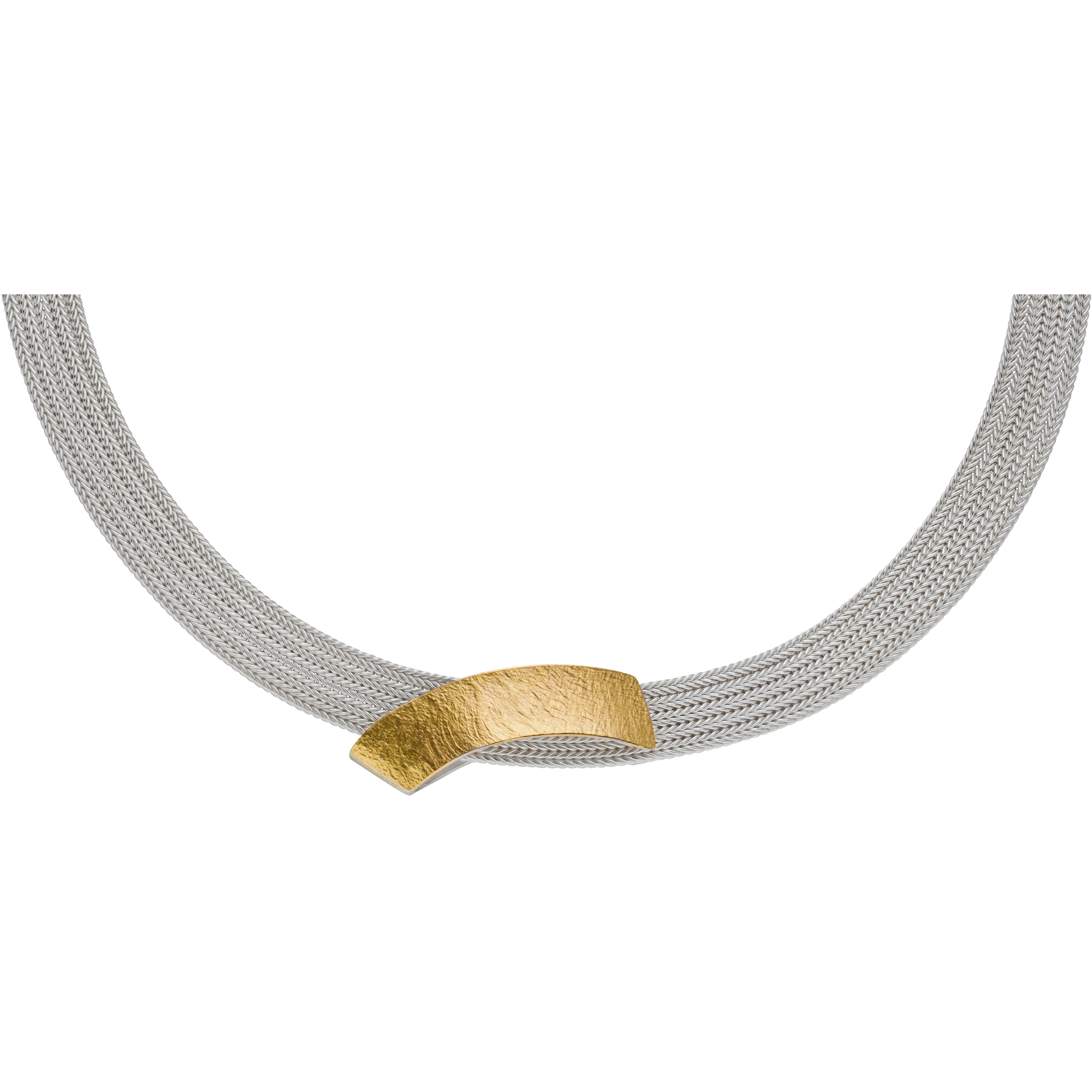 Manu 22CT Gold And Silver Scalloped Necklace