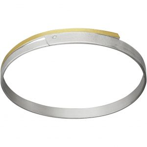 Manu Gold, Silver And Diamond Slimline Bangle