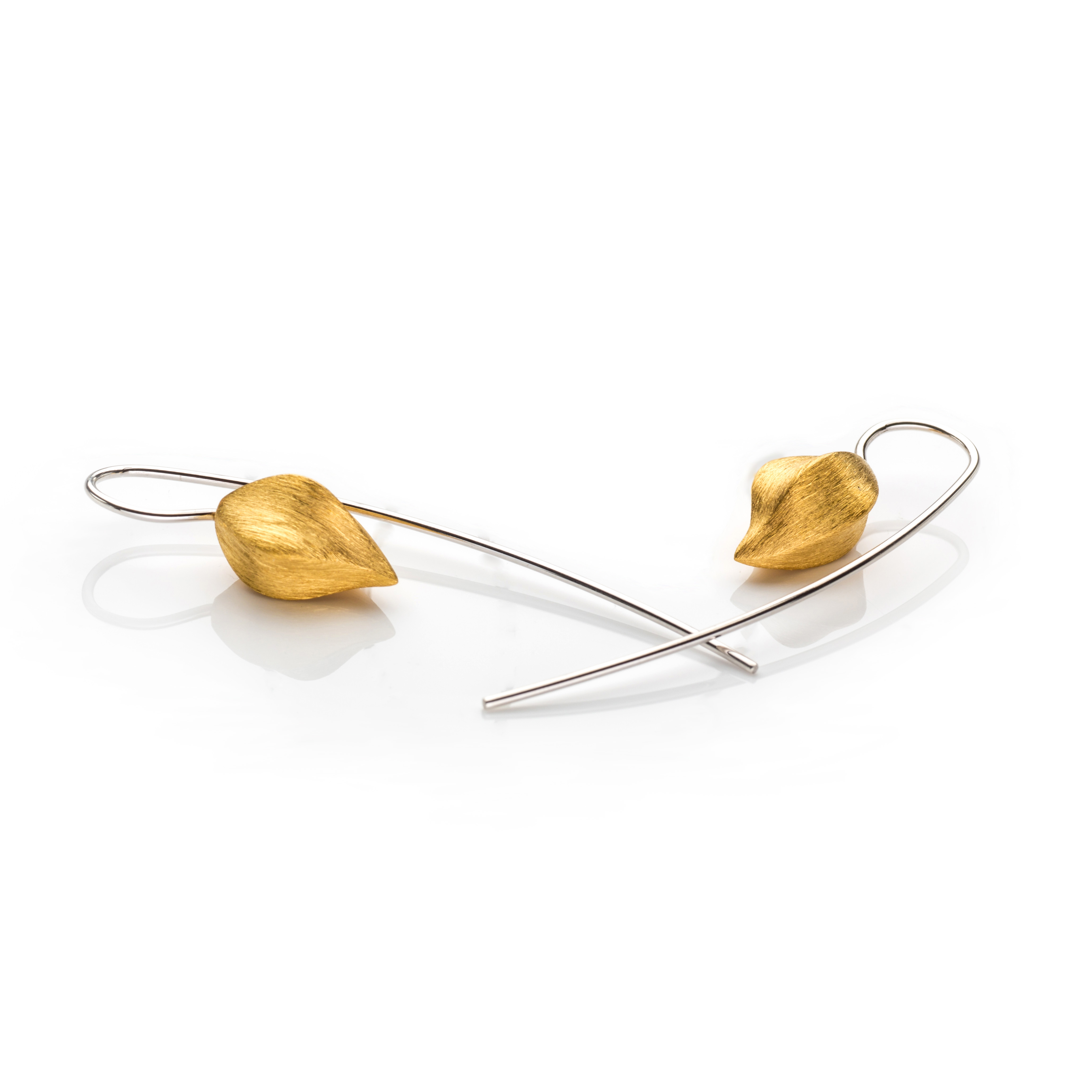 Lindenau Hanging Gold Plated Pod Earrings