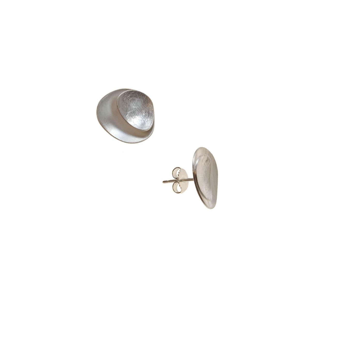 Tezer Sterling Silver Double Disk Earring