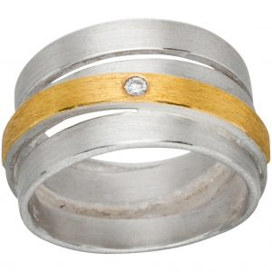 Manu Gold, Silver And Diamond Chunky Ring