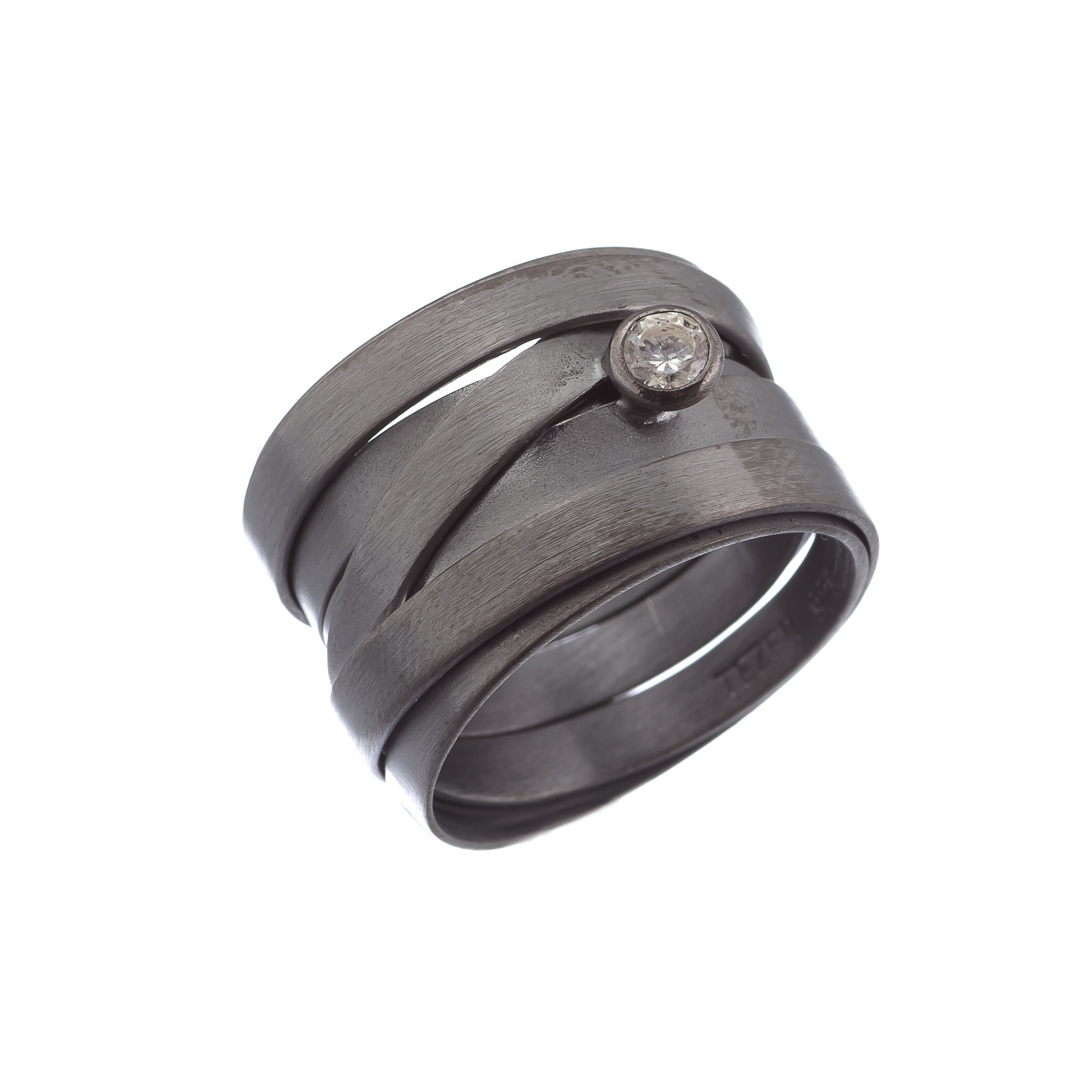 Tezer Sterling Silver And Black Rhodium Wrap Ring