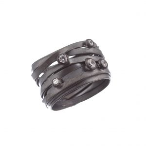 Tezer Twisted Wrap Ring In Sterling Silver And Black Rhodium