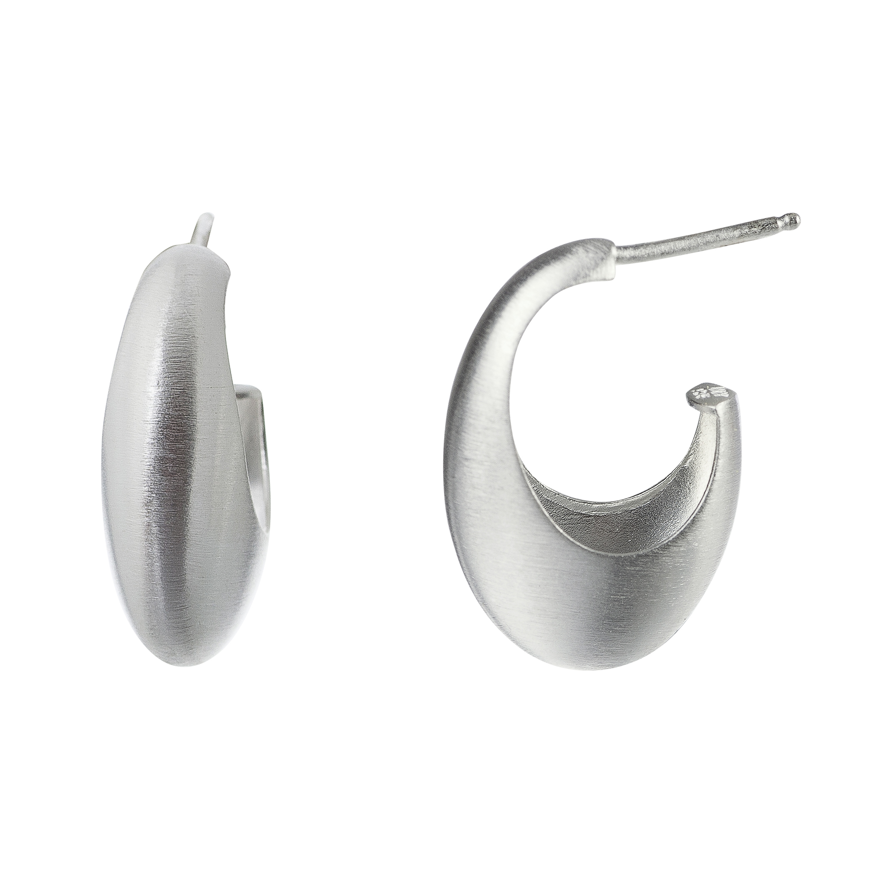 Tezer Sterling Silver Contemporary Hoop Earring