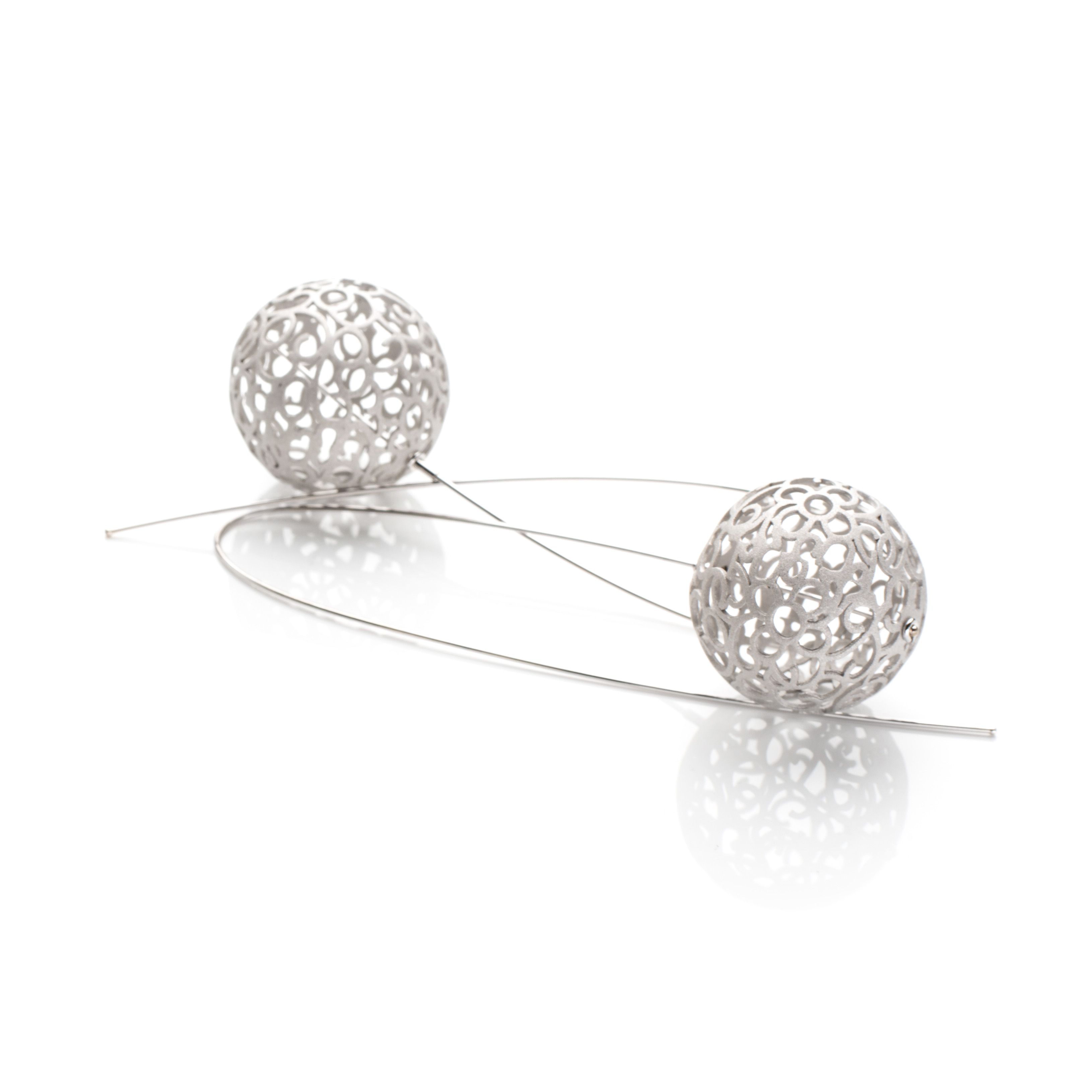 Lindenau Matte Silver Bobble Earrings