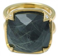 Jayce Wong Angel's Hair Black Chalcedony Ring