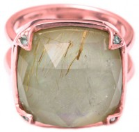Jayce Wong Angel's Hair Mother Of Pearl Signet Ring In Rose Gold Vermeil