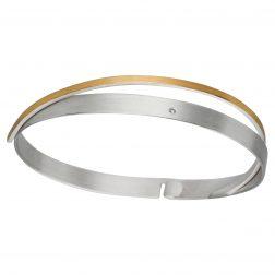 Manu Silver Diamond Bracelet With Gold Band