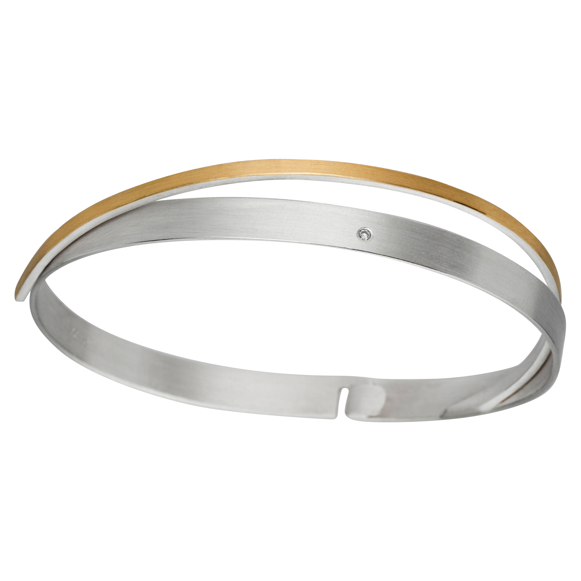 Manu Silver Bracelet With Gold Band