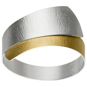 Manu Silver Bangle With Gold