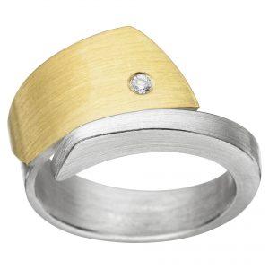 Manu Silver, 22ct Gold And Diamond Ring