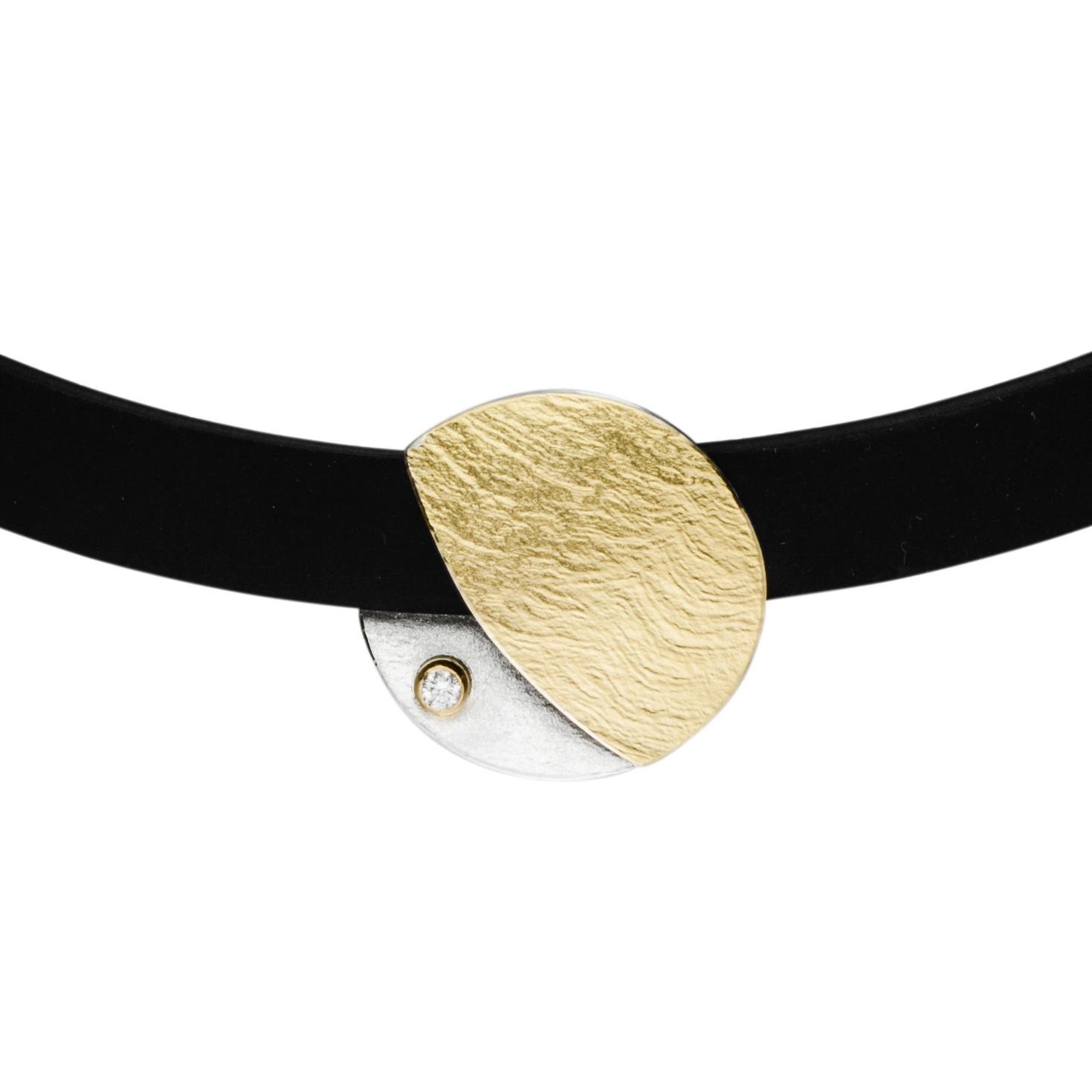 Manu Gold, Silver & Diamond Disk Necklace