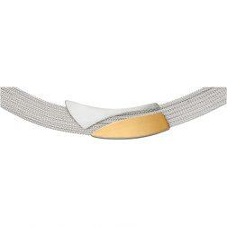 Manu 22CT Gold & Silver Spilt Curve Necklacer