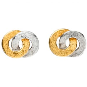 Manu Silver And 22CT Gold Link Studs