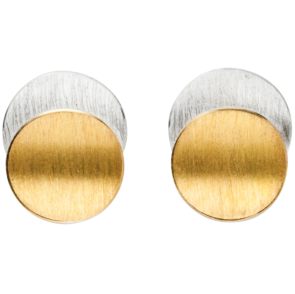 Manu 22CT Gold And Silver Disk Studs