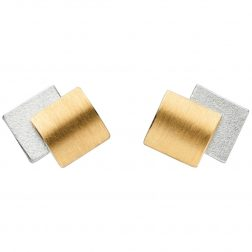 Manu Silver & Gold Layered Square Studs