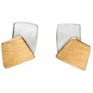 Manu Silver & Gold Quadrilateral Studs