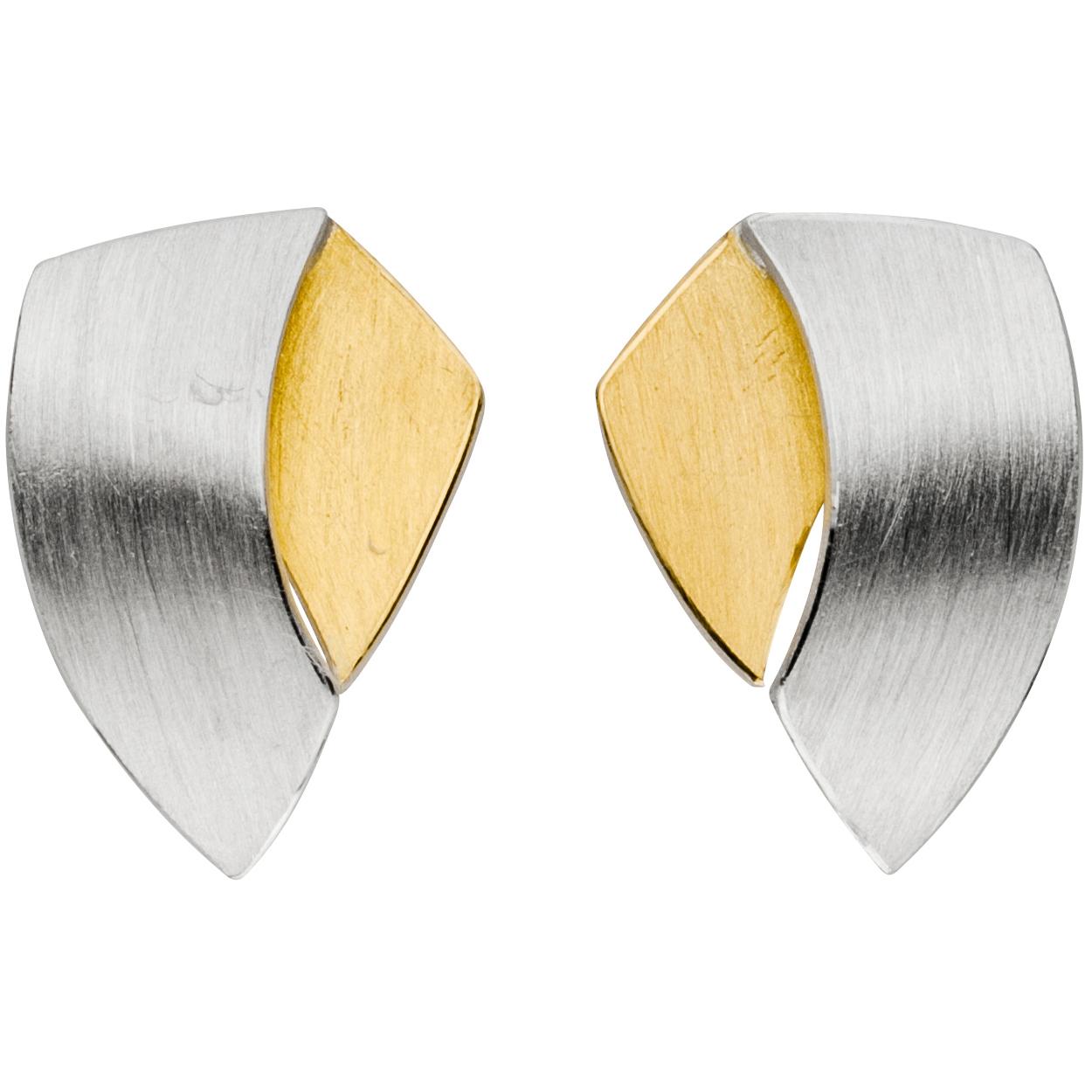 Manu Silver & 22CT Gold Shield Earrings