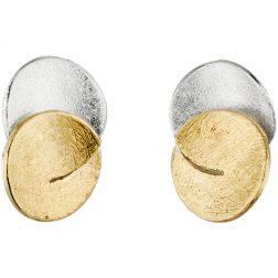 Manu Silver & Gold Cut Circle Studs