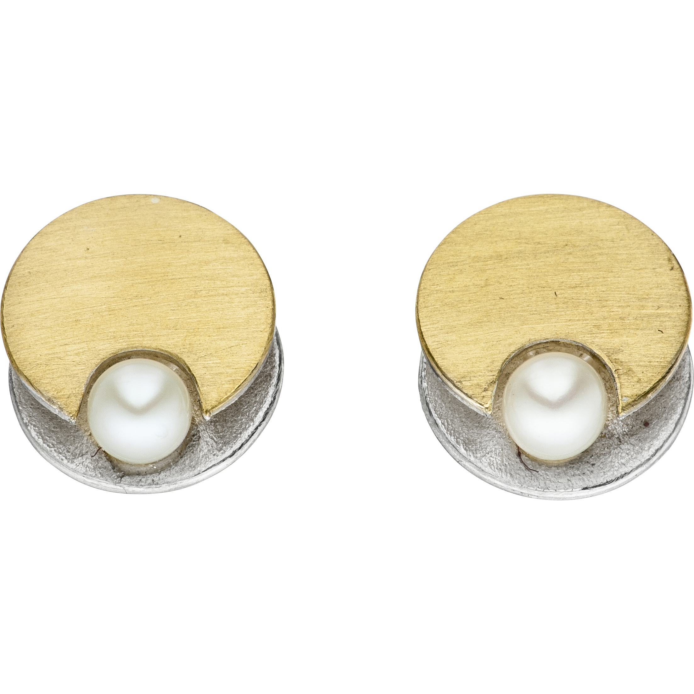 Manu Gold & Silver Disk Studs, With Pearls