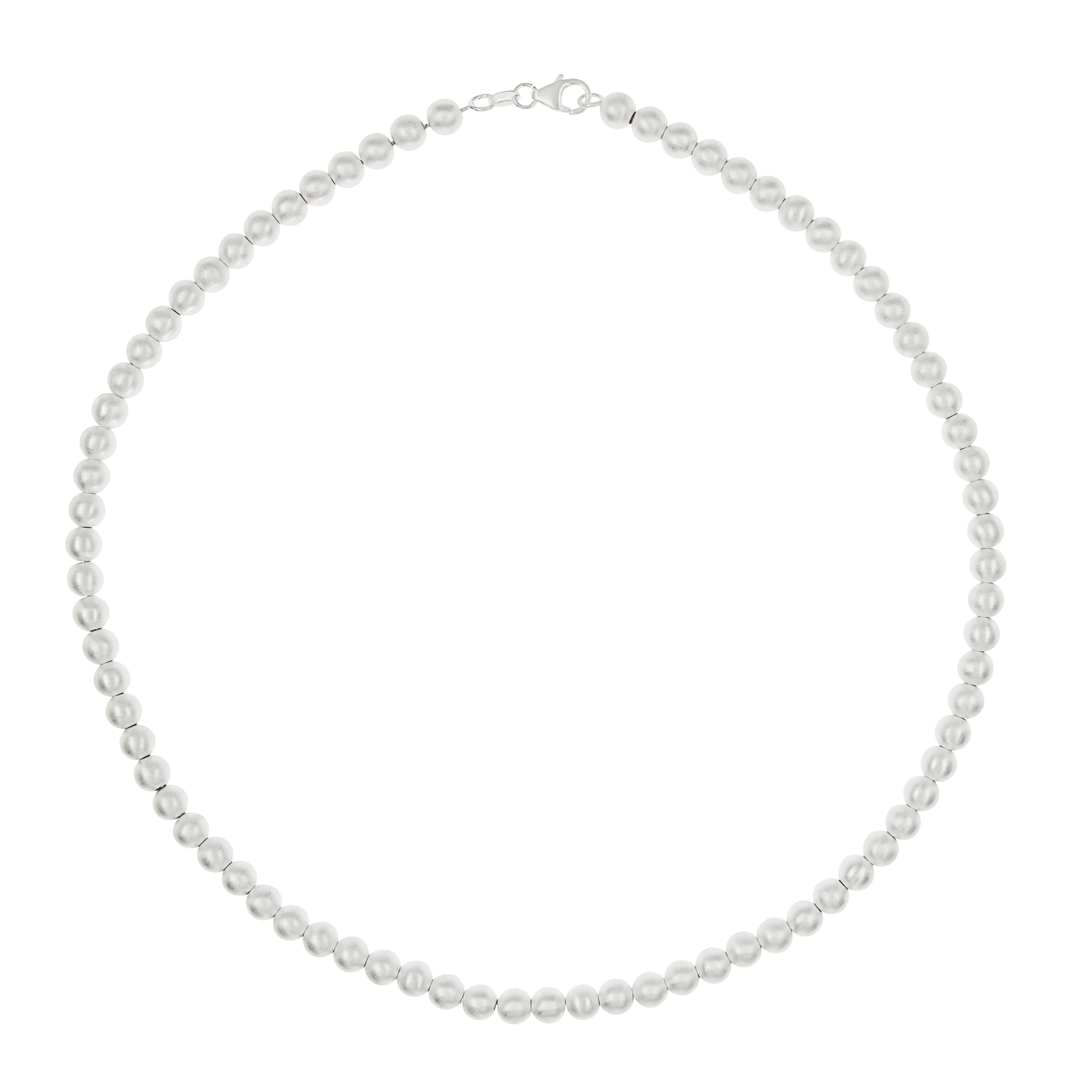 Tezer Polished Silver Ball Necklace