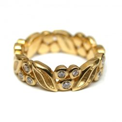 Dower And Hall 18ct Yellow Gold Diamond Leaf Ring