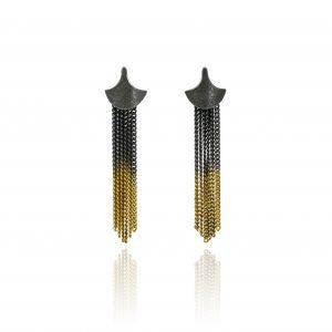 Cara Tonkin Black Gold Siren Tassel/Stud Earrings