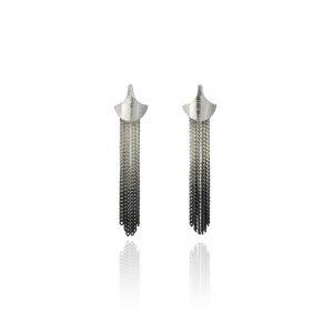 Cara Tonkin Black Silver Siren Tassel/Stud Earrings