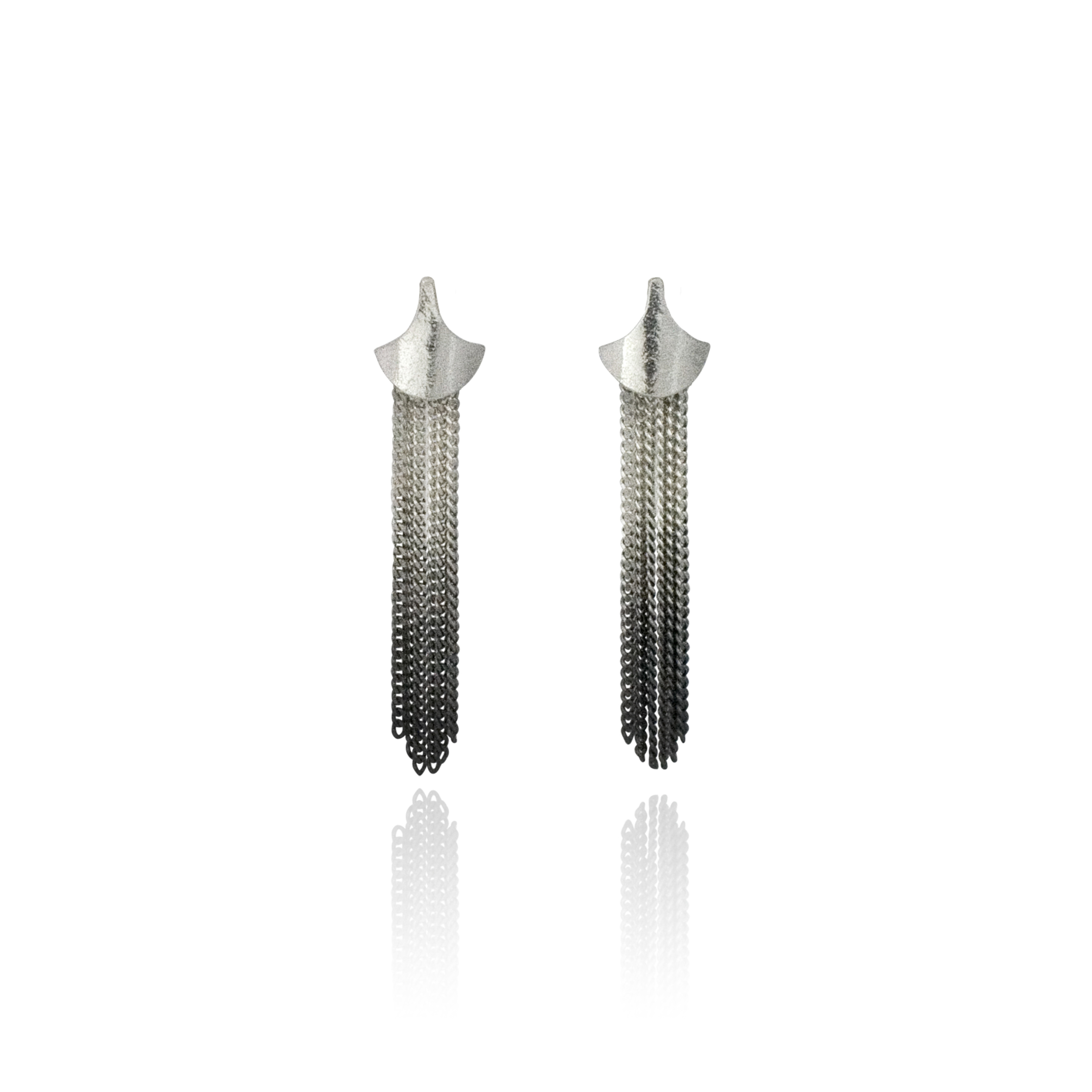Cara Tonkin Black Silver Siren Tassel/Stud Earrings