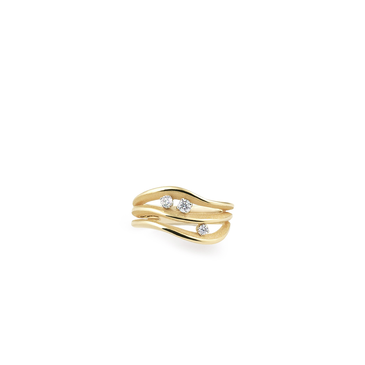 Anna Maria Cammilli 18ct Yellow Gold And Diamond Luxor Sunrise Multi Strand Ring.