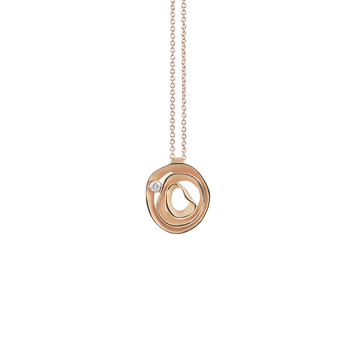 Anna Maria Cammilli Rose Gold And Diamond Dune Pendant.